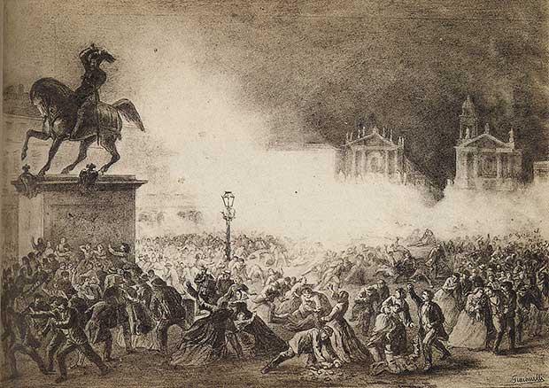 Eccidio di Torino, piazza San Carlo, 1864 (stampa di Giacomelli)